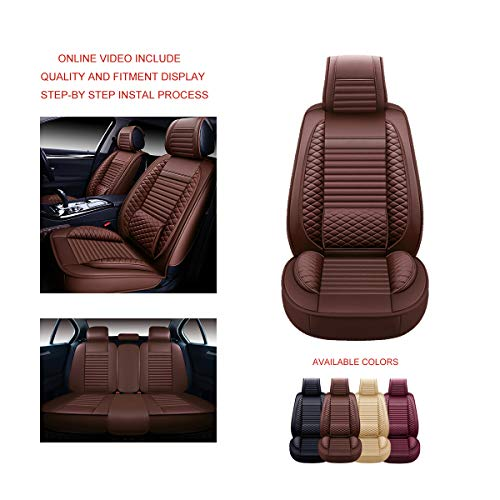 Faux Leatherette Automotive Vehicle Cushion Cover for Cars SUV Pick-up Truck Universal Fit Set for Auto Interior Accessories OASIS AUTO OS-001 Leather Car Seat Covers Full Set, Brown
