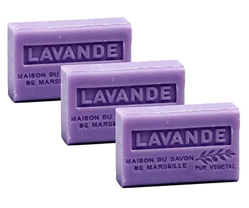 Maison du Savon de Marseille - 3er-Set Provence-Seifen mit Sheabutter - Lavendel (Lavande) - 3 x 125 g