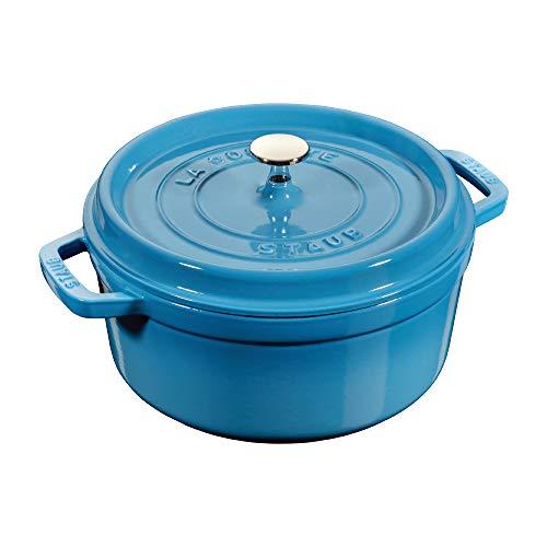 STAUB 24cm Round Cast Iron Cocotte Ice Blue