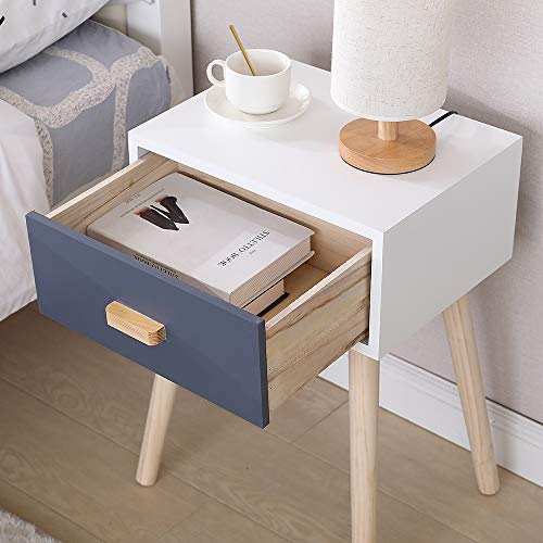 Sarah (Lot de 2) Table de Chevet avec 1 tiroirs, Table d'appoint, Table de Nuit, Petites Tables Basses, 40,5×30,5×60 cm, Blanc-Gris