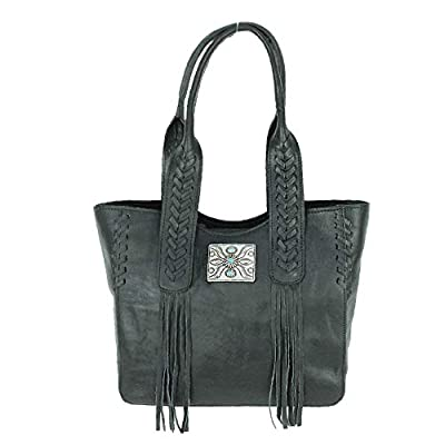 American West Mohave Canyon Small Leather Zip Top Tote (Black)