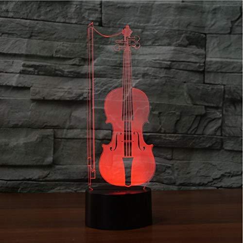 Violoncel Forma Acrílico 7 colores Lámpara de escritorio Lámpara 3D Regalo de la novedad Luz de noche LED Luz de halcón milenario