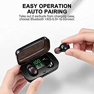 Wireless Earbuds Bluetooth 5.0 Earbuds, TWS Earphones in-Ear with Charging Case, Noise Canceling Wireless Headphones for Sports, Deep Bass Easy-Pairing 20H Playtime IPX7 Waterproof