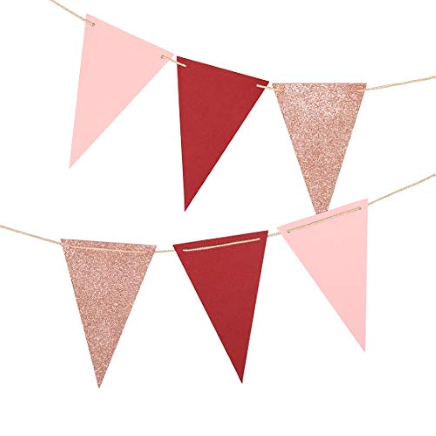 Fonder Mols Paper Pennant Decorations,Triangle Flags Bunting Garland for Wedding, Nursery, Baby Shower, Bridal Shower, Bachelorette Decor(10 feet, Rose Gold/Burgundy/Blush Pink)