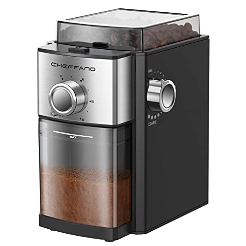 CHEFFANO Conical Burr Coffee Grinder, Large Capacity 2-12Cups Selectors   17 Grinding Options for French Press, Espresso, Drip, Percolator, Turkish Making (Renewed)