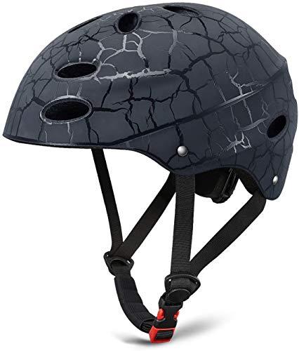 Kinder Skateboarder Helm SKL Fahrradhelm Integralhelm Rollerhelm für Radfahrer (schwarz)