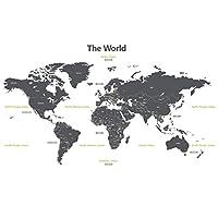 DECOWALL DL-1509G モダングレー 世界地図 (大) ウォール ステッカー デコ 幼稚園 保育園 子供部屋 DIY 用 壁転写 シール ウォールアート シール 男の子 女の子 11代 こども バスルーム デコレーション ビニール 寝室用 ティーン キッズ