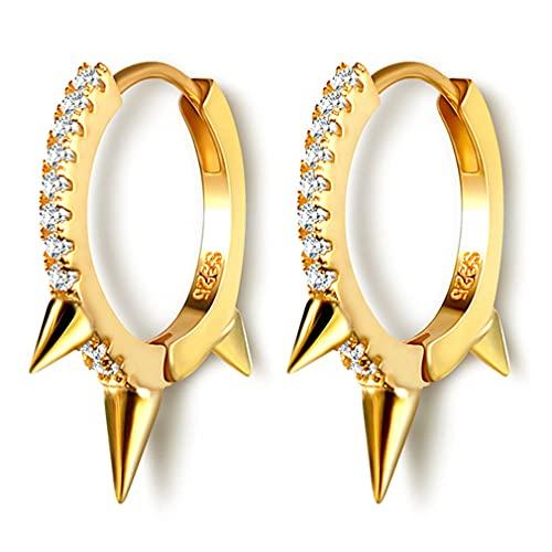 YAZILIND Pendientes de estilo punk con forma geométrica Pendiente de aro Mujeres Niñas Joyería de oreja (Oro)