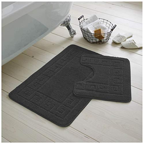 Gaveno Cavailia Ultra Plush Lot de 2 Tapis de Bain antidérapants 100 % polypropylène pour Salle de Bain et Toilettes, Taille Standard (50 x 80, 50 x 40 cm), Gris Anthracite