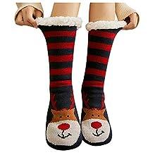 ZEZKT medias de navidad mujer calcetines de alfombra de invierno medias antideslizantes engrosado más terciopelo calcetines casual calcetines de estar por casa F