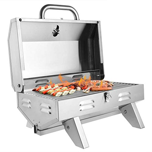 Cocks Portable Propane Gas Grill, Propane Tabletop Gas Grill Stainless Steel Burner BBQ with Foldable Leg, 12000 BTU, Perfect for Camping, Picnics Or Patio Garden BBQ Any Outdoor Use Grills Propane