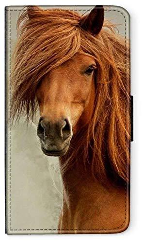 blitzversand Flip Case Sunset Horse Pferd kompatibel für iPhone 6 6s Lange Mähne Schweif Handy Hülle Leder Tasche Klapphülle Brieftasche Etui r& um Schutz Wallet M10