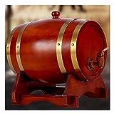 YANGUANG Barril de Vino de Madera Barril de Roble Envejecido, Barril de Whisky de Madera Hecho A Mano de 10L Cerveza Brandy Whisky Vino de Oporto (Color : Red, Size : 10L)