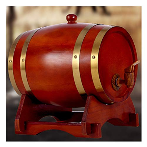 Toneles de Vino Barril de Roble Barril de Madera Barril de Roble Envejecido, Barril de Whisky de Madera Hecho A Mano de 10L Cerveza Brandy Whisky Vino de Oporto (Color : Red, Size : 10L)