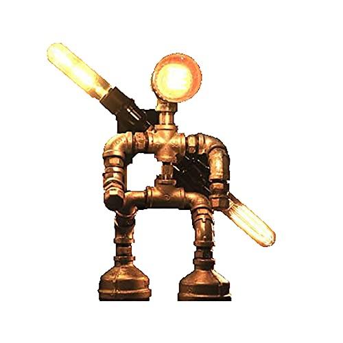 OMKMNOE Lámpara de mesa estilo robot de tubo de agua industrial vintage lámpara de mesa steampunk lámpara de escritorio rústico tubo de agua lámpara de escritorio (sin bombilla), I