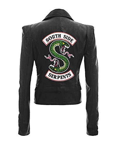 Yesgirl Riverdale Southside Serpents - Chaqueta de piel para mujer y niña, corte ajustado, sudadera, camiseta de manga larga Negro H M