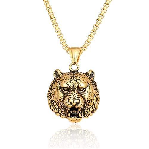 LLJHXZC Collar Collar con Colgante de león Dorado de Acero Inoxidable Animal increíble Cabeza de león Collares Pendientes de joyería para Hombres