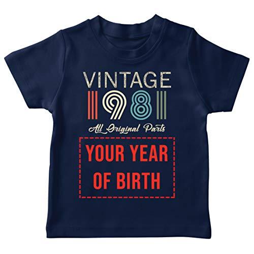 lepni.me Camiseta para Niños Personalizado con Cualquier Año Regalo Vintage Todas Las Piezas Originales (12-13 Years Azul Oscuro Multicolor)
