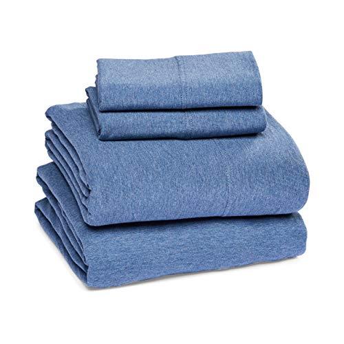 Amazon Basics Heather Cotton Jersey Bed Sheet Set - King, Chambray Blue