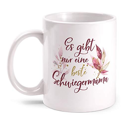 Fashionalarm Tasse Es gibt nur eine Beste Schwiegermama - Dich - beidseitig Bedruckt mit Spruch   Geburtstag Geschenk-Idee für Schwiegermütter, Weiß 330 ml