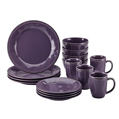 Rachael Ray Cucina Dinnerware 16-Piece Stoneware Dinnerware Set, Lavender Purple
