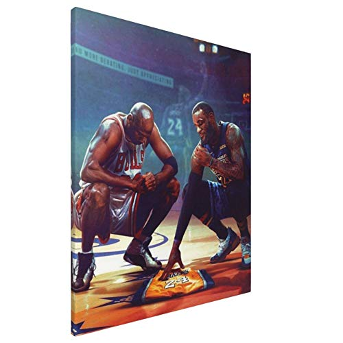 IYIFOO James and Jordan Mourning to Kobe'S Jersey Giclee Prints On Canvas Wall Art Large for Living Room Bedroom Bathroom Home Decor Ready to Hang 16x20 Inch