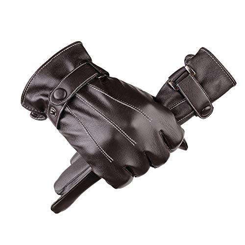 LHTCZZB Guantes de invierno de abrigo for invierno de las mujeres a caballo, a prueba de lluvia y al viento espesado varón del cuero de la motocicleta a prueba de viento y impermeable bicicleta eléctr