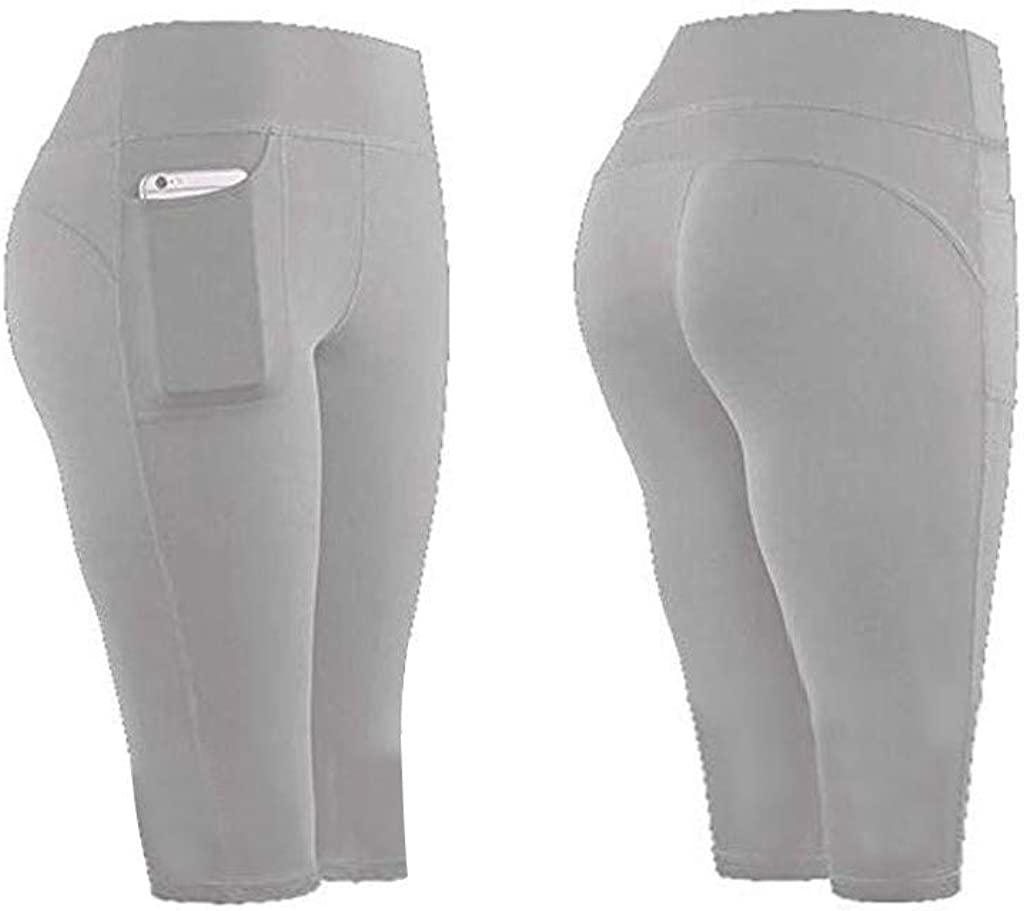 Women Stretch Yoga Leggings Fitness Running Gym Sports Pockets Active Pants(Gray,L)