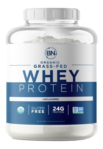 Grass Fed Whey Protein Powder - USDA Organic – 24g High Protein - 5 lb/72 Servings - Cold Processed - Non-GMO - rBGH-Free - High Quality from Wisconsin USA - (Packaging May Vary)