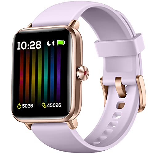 """Hamile Smart Watch for Android Phones Compatible with iPhone, Fitness Watch with Heart Rate Monitor, Blood Oxygen Saturation, 1.55"""" Touch Screen, 5ATM Waterproof Smart Watches for Women Men, Lavender"""