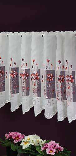 SCHMIDTGARD STOFFE Scheibengardine nach Maß Stick Lamellenpanneau Blume Bistrogardine Kurzstore Ausbrenner- Qualität Höhe 60 cm - Breite 15,5 cm Schritten wählbar weiß-rot