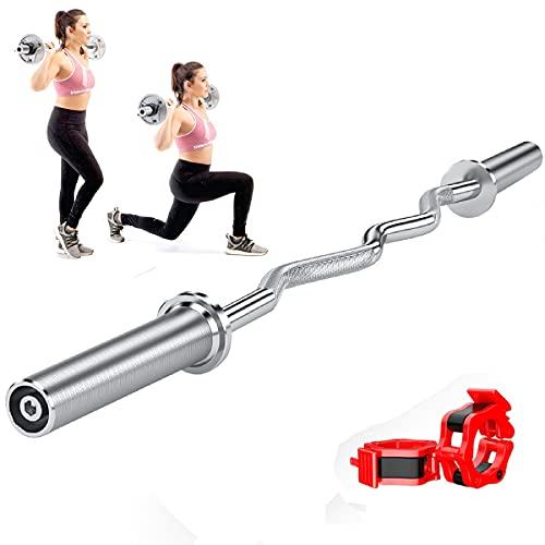 LXX Barra Musculación, Barra Olímpica Levantamiento de Pesas, Barra De Entrenamiento Olímpico Barra Curvada para Entrenamiento de Bíceps, 120cm/150cm