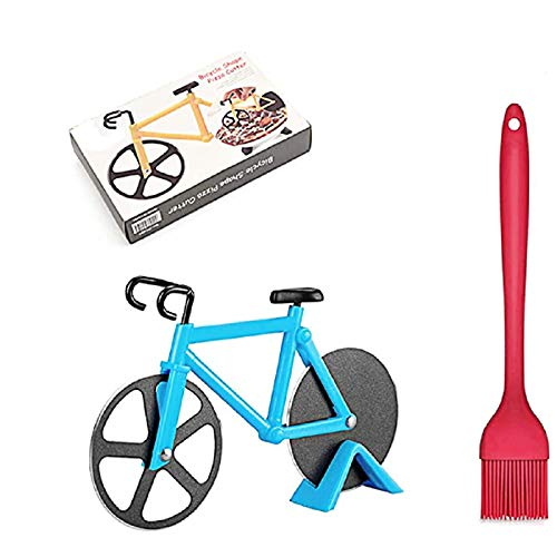Bicycle Pizza Cutter Wheel,Dual Stainless Steel Wheels,Non-stick Bike Pizza Slicer with BBQ Brush and Display Stand,Cool Kitchen Gadget, Ideal Gift for Pizza Lovers