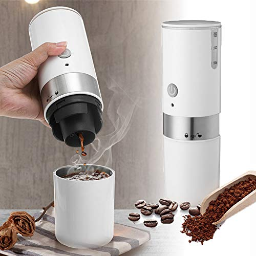 Portable Electric Coffee Maker Machine, Automatic Espresso Maker Machine USB Small Travel Coffee Maker Machine Built-in Filter Americano Latte Maker Machine for Car Travel Camping Home (White)