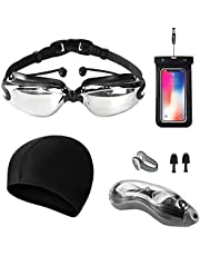 Bright Color Plated Swim Goggles, Earplug Integration Swimming Glasses,Wide Clear Vision Swimming Goggles for adults Men Women,Anti Fog/UV Resistant with Nose and Ear Plugs