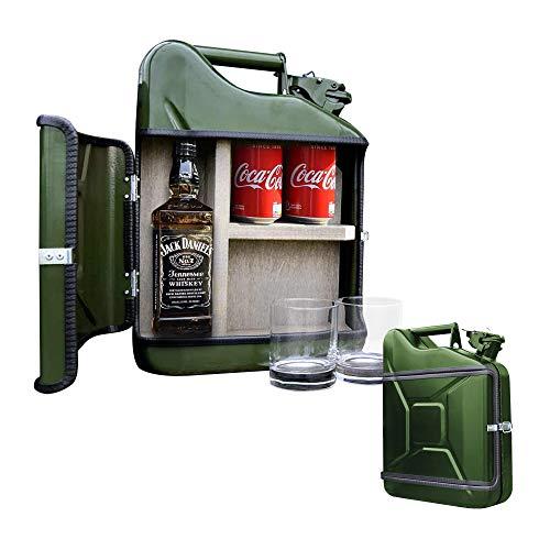 mikamax – Jerrycan Giftset 10L – Jerrycan Geschenkset – Whiskybar – Jack Daniels Canister – 10L – Grün – Mit Zwei Whiskey Gläsern – Maße: 39 x 29 x 13 cm – Whiskey Set