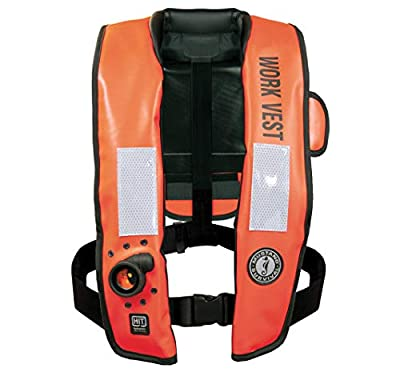 Mustang Survival - HIT Inflatable Work Vest for Adults (Orange & Black - One Size Fits All), Auto Hydrostatic, Enhanced Mobility and Reduced Heat Stress, 35 lb. of Buoyancy