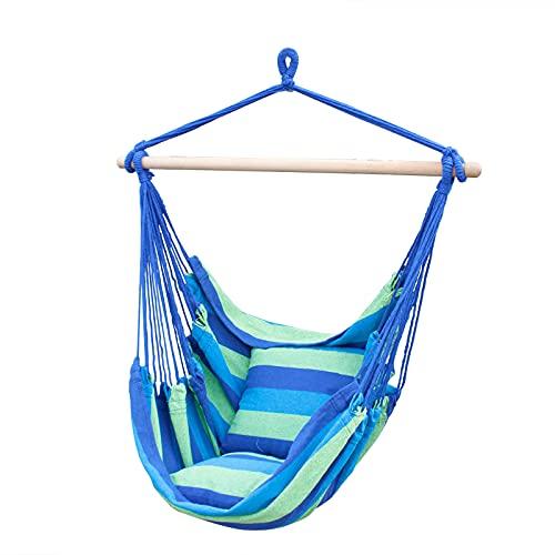 SUNNY GUARD Silla Hamaca Colgante Cuerda Columpio MAX 150 KGS Tejido de algodón de Calidad para una Comodidad Superior, Durabilidad Raya Azul y Verde