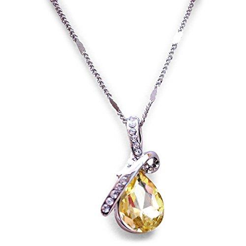 Swarovski Elements. Gelb Eternal Love Tropfenform Anhänger Halskette. platiniert. Geschenk-Box