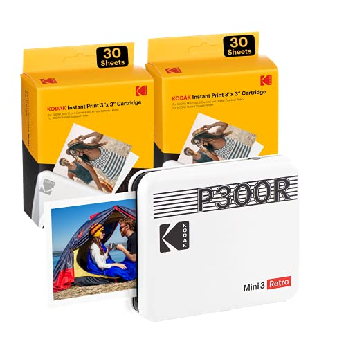 "Kodak Mini 3 Retro 3x3"" Portable Photo Printer (60 Sheets), Compatible with iOS, Android & Bluetooth Device, Real Photo 4PASS Technology & Laminating Process, Photos – White"