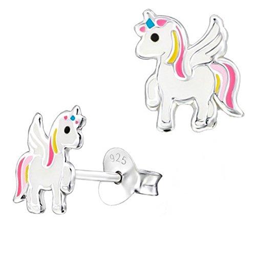 Pegasus Einhorn Ohrstecker 925 Echt Silber mit Emaille Pferd Kinder Mädchen Ohrringe (Motiv-14)