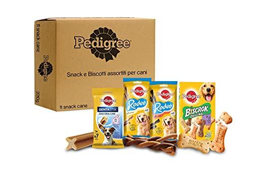 Pedigree Snack e Biscotti Cane, Confezione Assortita in Diverse Varietà (Cani Taglia Piccola 5-10kg) - 9 Snack e 1kg di Biscotti, Totale 2010 g
