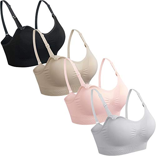GXXGE 4Pack Nursing Bra for Breastfeeding Maternity Bras Push Up Silk Seamless Pregnancy Bralette Underwear Black Beige Grey Pink X-Large