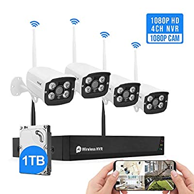 Wireless Security Camera System Plug&Play 1080P 4CH NVR 4Pcs 2MP WiFi Video Surveillance Cameras with 1TB Hard Drive, H.265 Night Vision, Motion Detection, P2P, 24/7 Recording Home Outdoor