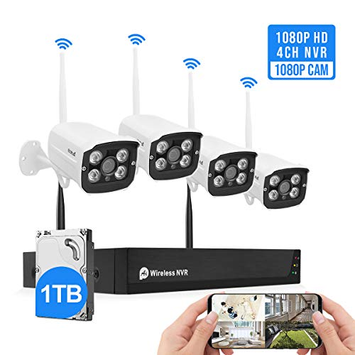 Wireless Security Camera System Plug&Play 1080P 4CH NVR 4Pcs 2MP WiFi Video Surveillance Cameras with 1TB Hard Drive, H.265 Night Vision, Motion Detection, P2P, 24/7 Recording Home Outdoor DVR Kits Surveillance