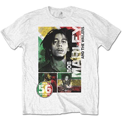 Rockoff Trade Bob Marley 56 Hope Road Rasta Camiseta, Blanco, XXL para Hombre