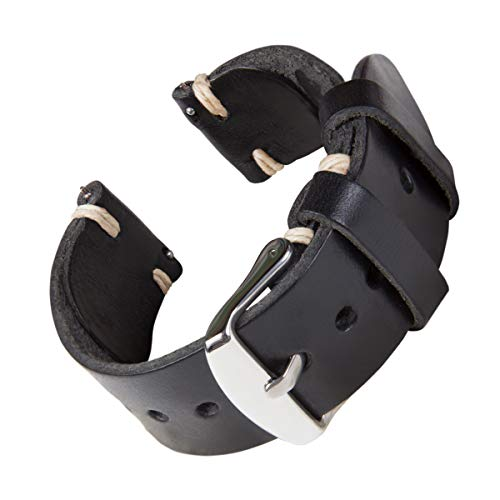Archer Watch Straps - Handgefertigtes Horween-Lederarmband aus echtem Leder mit Schnellverschluss (Schwarz/Faden Naturfarbe, 22mm)