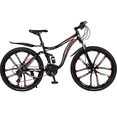 PBTRM 26 Pulgadas Bicicleta 27 Velocidades Bicicleta Montaña MTB Hombres Mujeres Bicicleta, Marco De Doble Amortiguador, Freno De Disco, Adecuado para Personas con Una Altura 165-185 Cm,Rojo