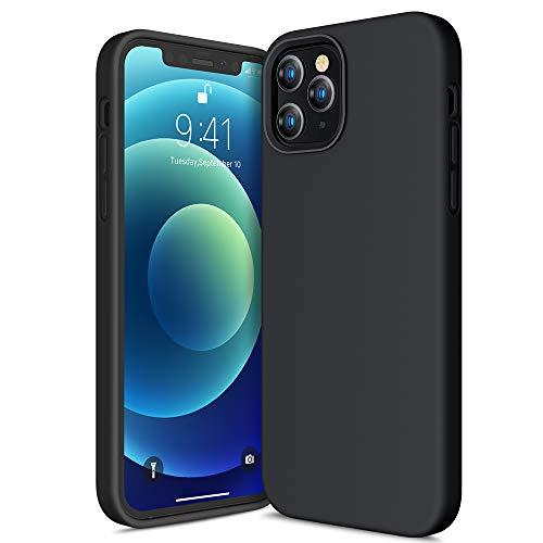 CANSHN Liquid Silikon Hülle Kompatibel mit iPhone 12 Pro Max 2020, Seidig Weiche Matte Gel Gummi mit Samtiger Microfaserinnenfutter Stoßfest Vollkörperschutz Hülle Handyhülle Schutzhülle - Schwarz