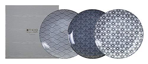 TOKYO design studio Set di Piastre Nippon Black a 3 Celle Bianco-Nero, Ø 25,7 cm, Altezza ca. 3 cm, Porcellana Giapponese con Motivi Geometrici, Confezione Regalo Inclusa